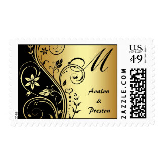 Gold & Black Floral Scroll Monogram Postage