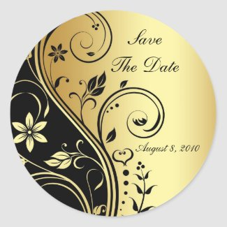 Gold & Black Floral Scroll Save The Date Sticker sticker