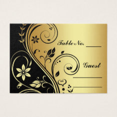 Gold & Black Floral Scroll Table Number PlaceCard Business Card at Zazzle