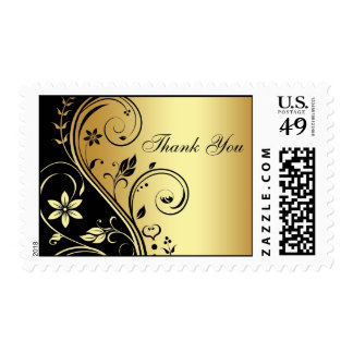 Gold & Black Floral Scroll Thank You Postage