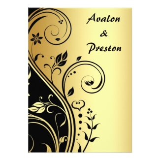 Gold & Black Floral Scroll Wedding Invitation