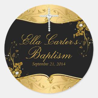 Gold Black Floral Swirl & Cross Baptism Sticker