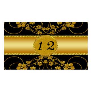 Gold & Black Floral Wedding Monogram Business Card