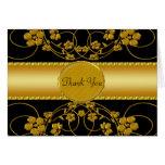 Gold & Black Floral Wedding Monogram Greeting Card