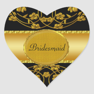 Gold & Black Floral Wedding Monogram Heart Sticker
