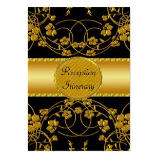 Gold & Black Floral Wedding Monogram Large Business Card