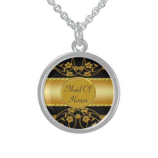 Gold & Black Floral Wedding Monogram Necklaces