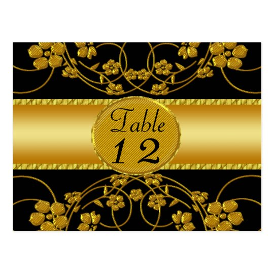Gold & Black Floral Wedding Monogram Postcard