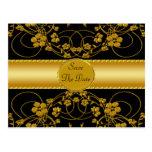 Gold & Black Floral Wedding Monogram Postcards