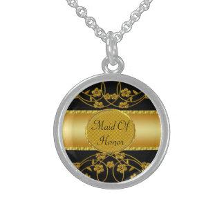 Gold & Black Floral Wedding Monogram Sterling Silver Necklace