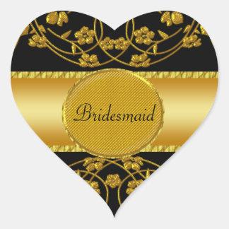 Gold & Black Floral Wedding Monogram Heart Sticker