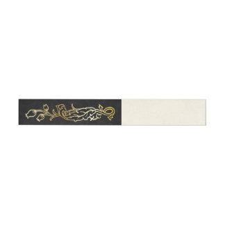 Gold & Black Floral Wrap Around Labels