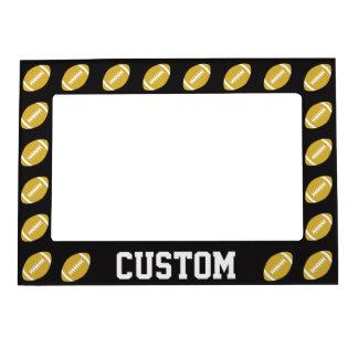 Gold & Black Football Custom Team or Player Name Magnetic Frame