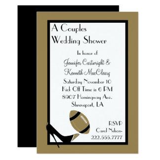 Gold & Black Football Wedding Shower Invitation