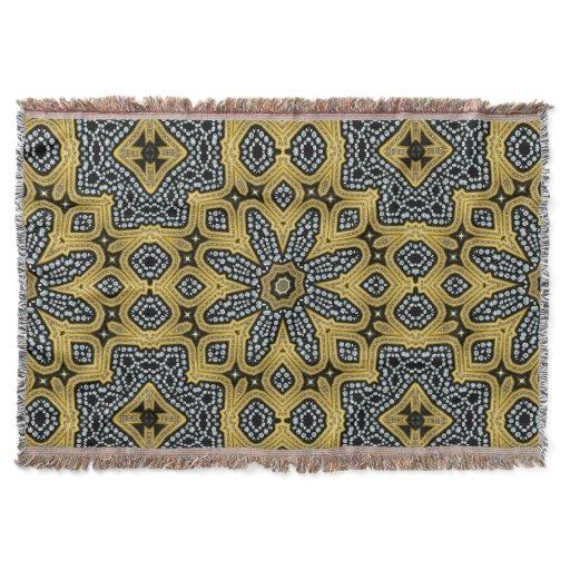 Gold Black Geogems Arabesque Woven Throw Blanket