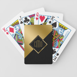 Gold & Black Geometric Angels Design Bicycle Playing Cards