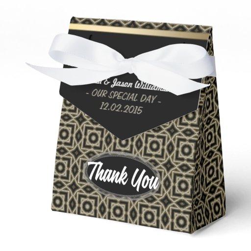 Gold Black Geometric Art Deco Thank You Party Favor Box