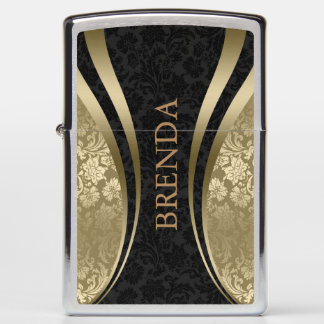 Gold & Black Geometric Design Damask Accent Zippo Lighter