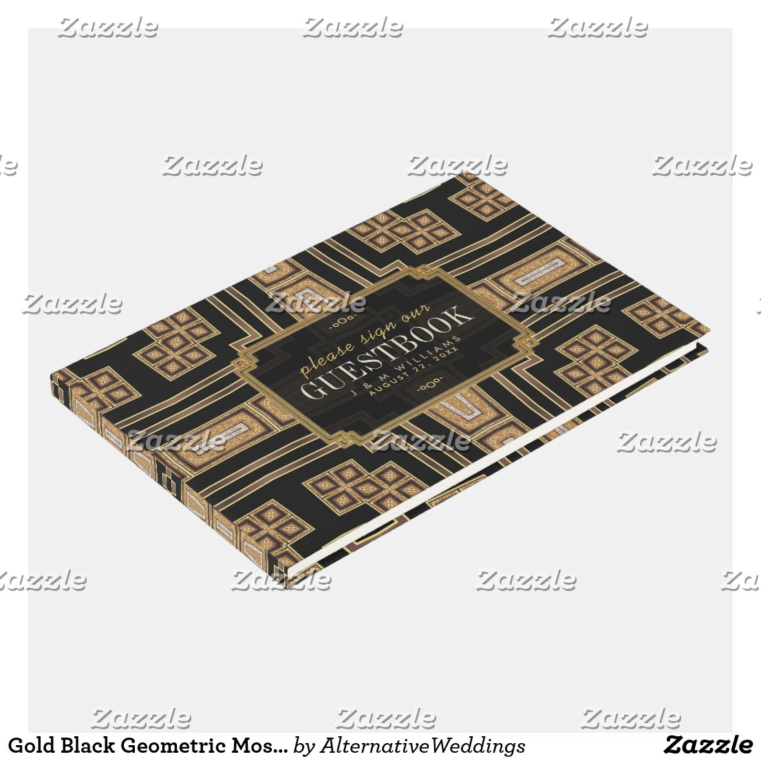 Gold Black Geometric Mosaic Pattern Wedding Guest Book by AlternativeWeddings