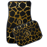 Gold & Black Giraffe Animal Pattern | Monogram Car Floor Mat