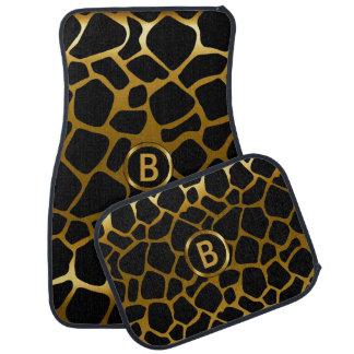 Gold & Black Giraffe Animal Pattern   Monogram Car Floor Mat