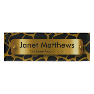 Gold & Black Giraffe Pattern with Gold Label Plate Name Tag