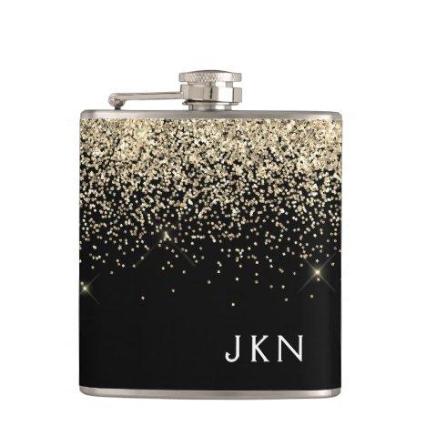 Gold Black Girly Glitter Sparkle Monogram Name Flask