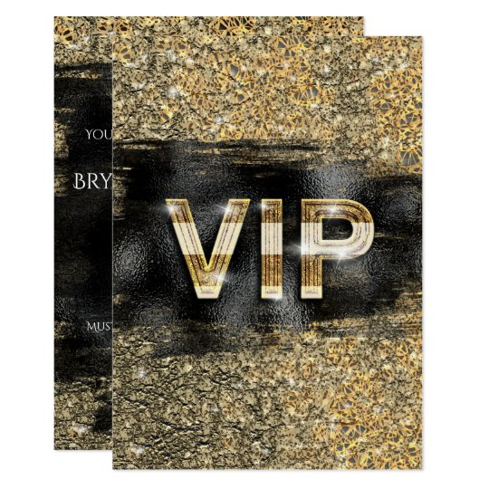 Gold Black Glam Chic Club Vip Party Invitations Zazzle Com