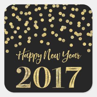 Gold Black Glitter Confetti Happy New Year 2017 Square Sticker