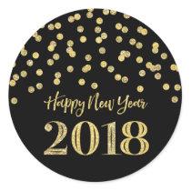 Gold Black Glitter Confetti Happy New Year 2018 Classic Round Sticker