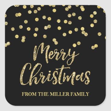 Christmas Themed Gold Black Glitter Confetti Merry Christmas Custom Square Sticker