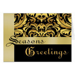 Gold & Black Gold Damask Christmas Holiday Card