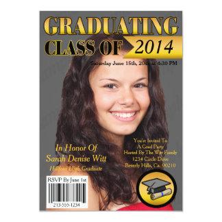 "Gold & Black Graduating Class Magazine Cover 5"" X 7"" Invitation Card"