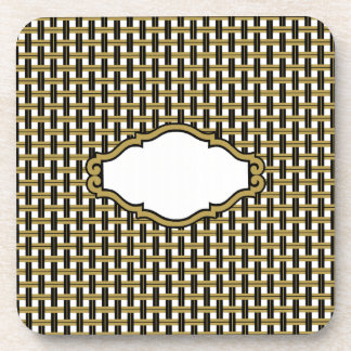 Gold Black & Gray Stripes Basket Weave Pattern Coaster