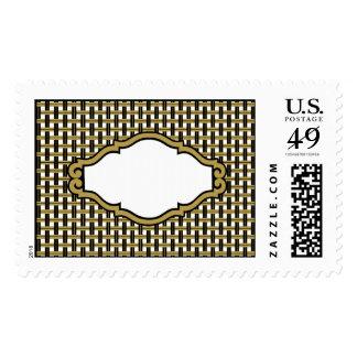 Gold Black & Gray Stripes Basket Weave Pattern Postage