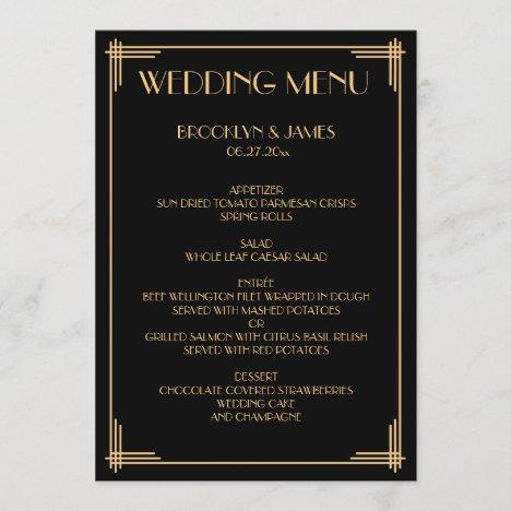 Gold Black Great Gatsby Art Deco Wedding Menu