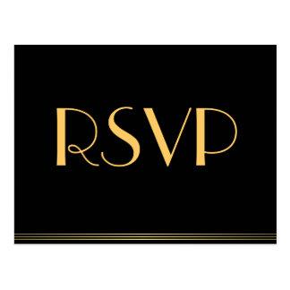 Gold Black Great Gatsby Wedding RSVP Postcards