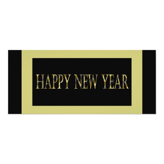 gold black happy new year card