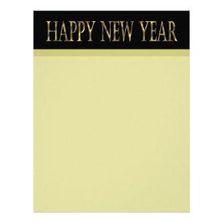 gold black happy new year letterhead