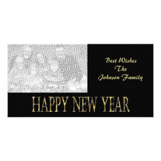 gold black happy new year photo card