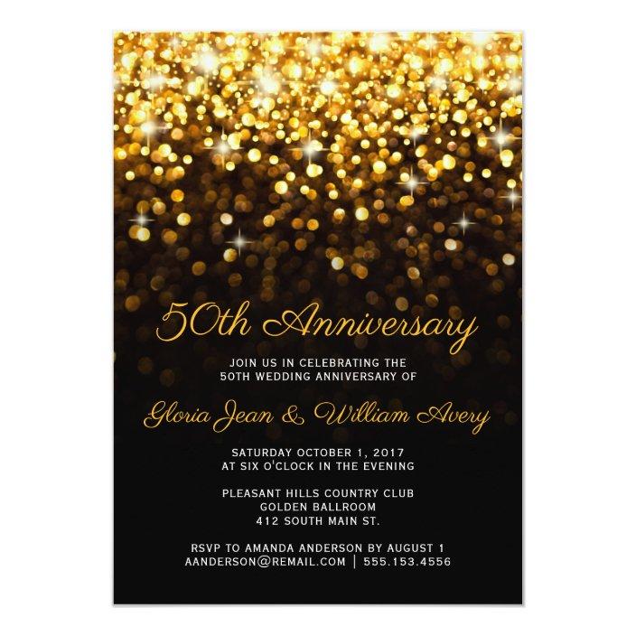 Gold Black Hollywood Glam 50th Wedding Anniversary Invitation Zazzle Com