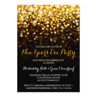 "Gold Black Hollywood Glam New Year's Eve Party 5"" X 7"" Invitation Card"