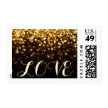 Gold Black Hollywood Glitz Glam LOVE postage stamp