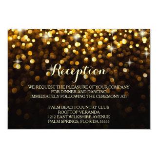 """Gold Black Hollywood Glitz Glam Reception Card 3.5"""" X 5"""" Invitation Card"""