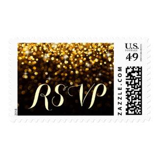 Gold Black Hollywood Glitz Glam RSVP postage stamp