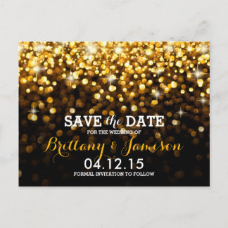 Gold Black Hollywood Glitz Glam Save the Date Announcement Postcard