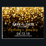 "Gold Black Hollywood Glitz Glam Save the Date Postcard<br><div class=""desc"">This dazzling Save the Date postcard is sure to wow your guests. Features bright gold sparkling light orbs that fade to a subtle black background. Perfect for an elegant,  classy wedding.</div>"