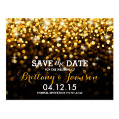 Gold Black Hollywood Glitz Glam Save The Date Postcard at Zazzle