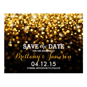 ModernMatrimony Gold Black Hollywood Glitz Glam Save the Date Postcard