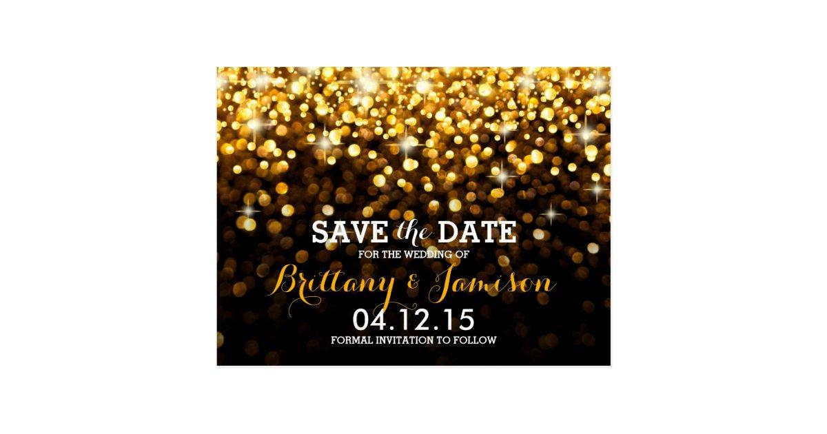 Gold Black Hollywood Glitz Glam Save the Date Postcard | Zazzle.com